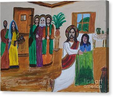 Jesus Raises A Dead Girl Canvas Print by Seaux-N-Seau Soileau