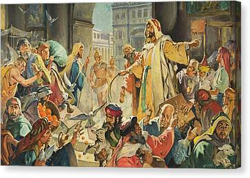 Jesus Removing The Money Lenders From The Temple Canvas Print by James Edwin McConnell