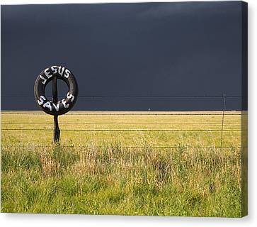 Cristian Church Canvas Print - Jesus Saves And Dark Storm Approaching by Scott Hales