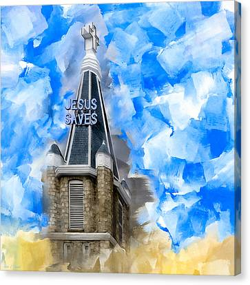 Jesus Saves In Sweet Auburn Canvas Print by Mark E Tisdale