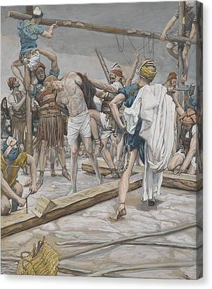 Jesus Stripped Of His Clothing Canvas Print by Tissot