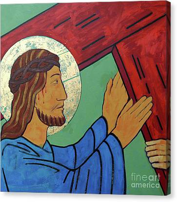 The Wooden Cross Canvas Print - Jesus Takes Up His Cross by Sara Hayward