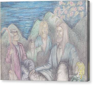 Jesus Teaching The Children Canvas Print by Thomas Higdon