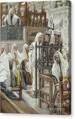Jesus Unrolls The Book In The Synagogue Canvas Print by Tissot