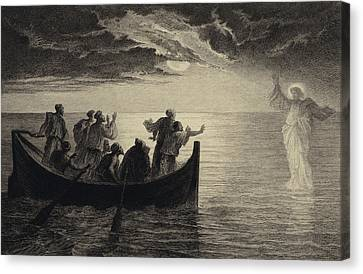 Gospel Of Matthew Canvas Print - Jesus Walking On The Sea by Albert Robida