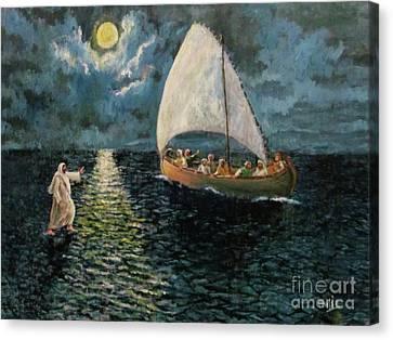 Jesus Walks On Water Canvas Print by Philip Lee