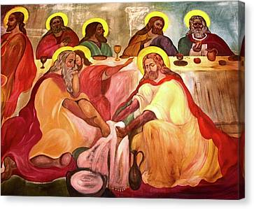 Last Supper Canvas Print - Jesus Washes His Disciples Feet by Munir Alawi