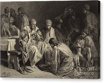 Jesus Washing The Disciples' Feet Canvas Print