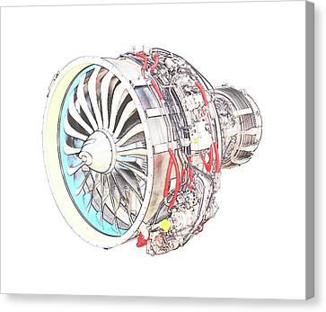 Jet Engine Canvas Print by PixBreak Art