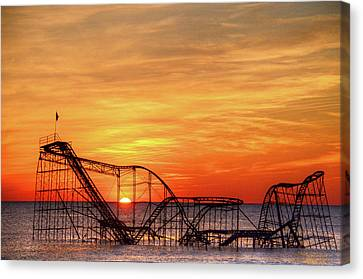 Jet Star Sunrise, Seaside Heights Nj Canvas Print by Bob Cuthbert