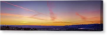 Jet Trails In The Sinset Canvas Print by Brad Stinson
