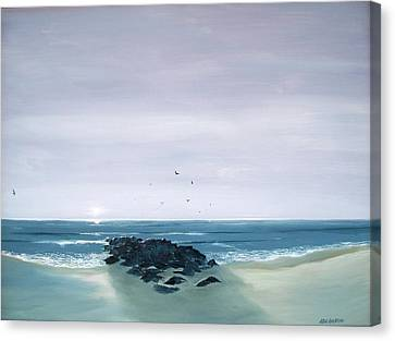 Canvas Print featuring the painting Jetty At Dawn by Ken Ahlering