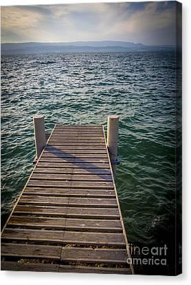 Built Canvas Print - Jetty On Lake Leman by Bernard Jaubert