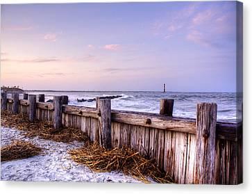 Island Stays Canvas Print - Jetty Sunset by Drew Castelhano