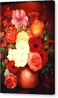 Jewel Flowers Canvas Print by Jordana Sands
