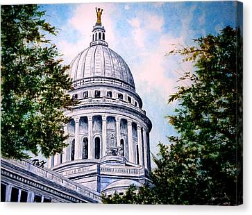 Canvas Print featuring the painting Jewel Of Wisconsin by Thomas Kuchenbecker