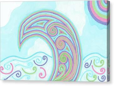 Canvas Print featuring the drawing Jewel Sea by Jill Lenzmeier