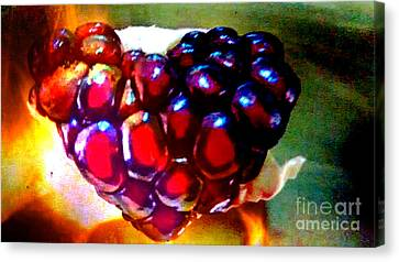 Canvas Print featuring the painting Jeweled Heart In Light And Dark by Genevieve Esson