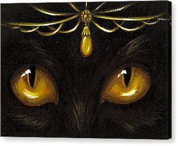 Jeweled Kitty Amber Canvas Print by Elaina  Wagner