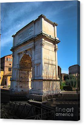 Jewish Arch - Arch Of Titus - Rome - Italy Canvas Print by Al Bourassa