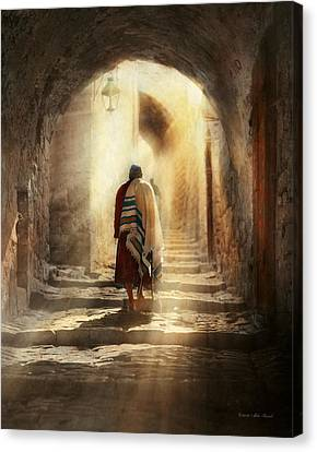 Jewish - Evening Prayers 1934 Canvas Print by Mike Savad