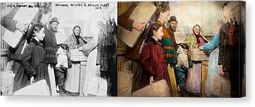 Jewish - Food For The Less Fortunate 1908 - Side By Side Canvas Print by Mike Savad