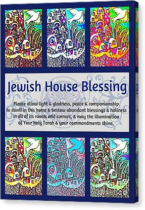 Jewish House Blessing City Of Jerusalem Canvas Print by Sandra Silberzweig