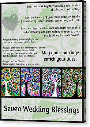 Jewish Seven Wedding Blessings Tree Of Life Hamsas Canvas Print by Sandra Silberzweig