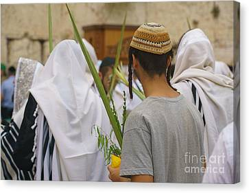 Jewish Sunrise Prayers At The Western Wall, Israel 8 Canvas Print