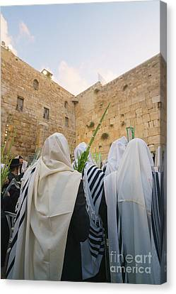 Jewish Sunrise Prayers At The Western Wall, Israel 9 Canvas Print