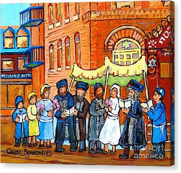 Jewish Wedding Under The Chupa Montreal Street Scene Bagg Synagogue Canadian Art Carole Spandau      Canvas Print by Carole Spandau