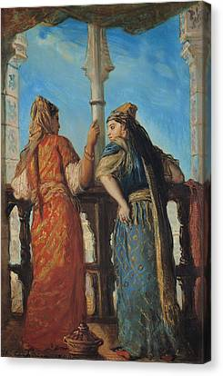 Jewish Women At The Balcony In Algiers Canvas Print