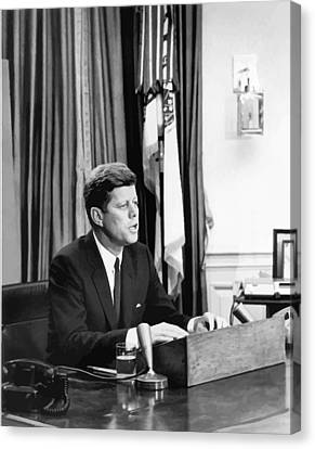 Senator Kennedy Canvas Print - Jfk Addresses The Nation  by War Is Hell Store