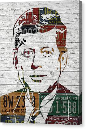Jfk Portrait Made Using Vintage License Plates From The 1960s Canvas Print by Design Turnpike