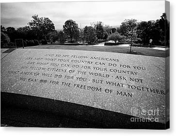 jfk quotes from his inaugural address at John F, Kennedy gravesite arlington cemetery Washington DC  Canvas Print