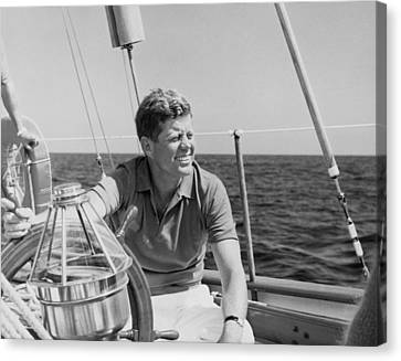 Jfk Sailing On Vacation Canvas Print by War Is Hell Store