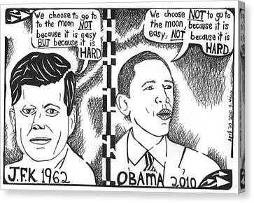 Jfk Vs Obama On Nasa Canvas Print by Yonatan Frimer Maze Artist
