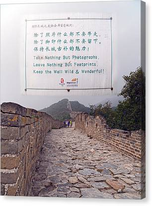 Jiankou To Mutianyu Leave Nothing Canvas Print by Betsy Knapp
