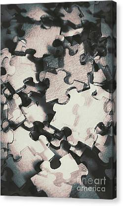 Jigsaws Of Double Exposure Canvas Print