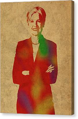 Jill Stein Green Party Political Figure Watercolor Portrait Canvas Print by Design Turnpike