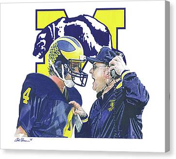 Jim Harbaugh And Bo Schembechler Canvas Print by Chris Brown