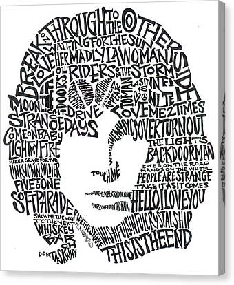 Psychadelic Canvas Print - Jim Morrison Black And White Word Portrait by Kato Smock