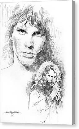 Jim Morrison Faces Canvas Print by David Lloyd Glover