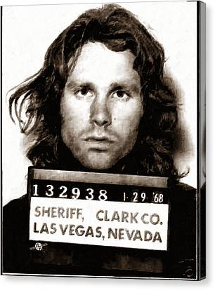 Jim Morrison . Legend Canvas Print - Jim Morrison Mug Shot 1968 Painting Sepia by Tony Rubino