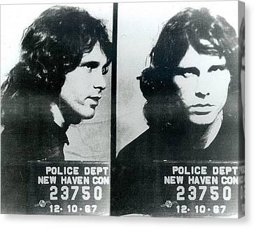 Jim Morrison . Legend Canvas Print - Jim Morrison Mug Shot Horizontal by Tony Rubino