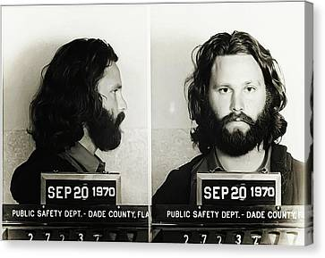 Jim Morrison Mugshot Canvas Print by Bill Cannon