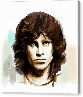 Canvas Print featuring the painting Jim Morrison Stolen Dust by Iconic Images Art Gallery David Pucciarelli