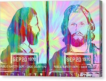 Jim Morrison . Legend Canvas Print - Jim Morrison Tie Dye Mug Shot by Dan Sproul