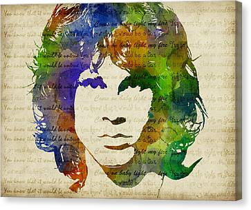 Jim Morrison Watercolor Canvas Print by Mihaela Pater