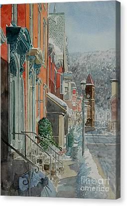 Historic Architecture Canvas Print - Jim Thorpe, Snow by Anthony Butera